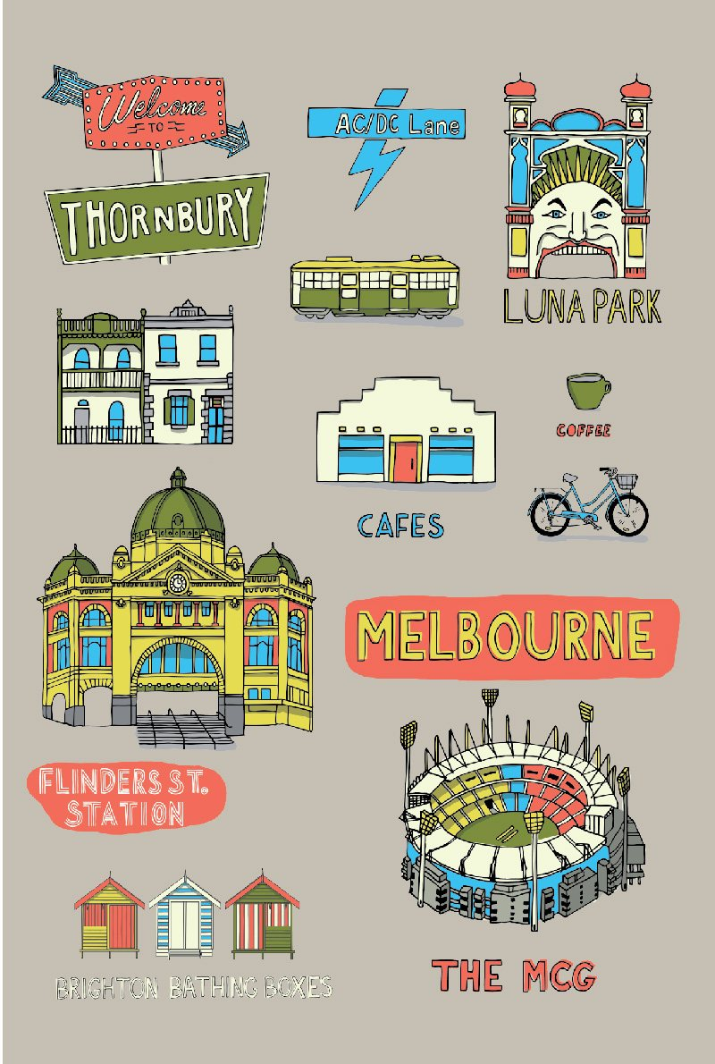 TEA TOWEL – MELBOURNE COLLAGE