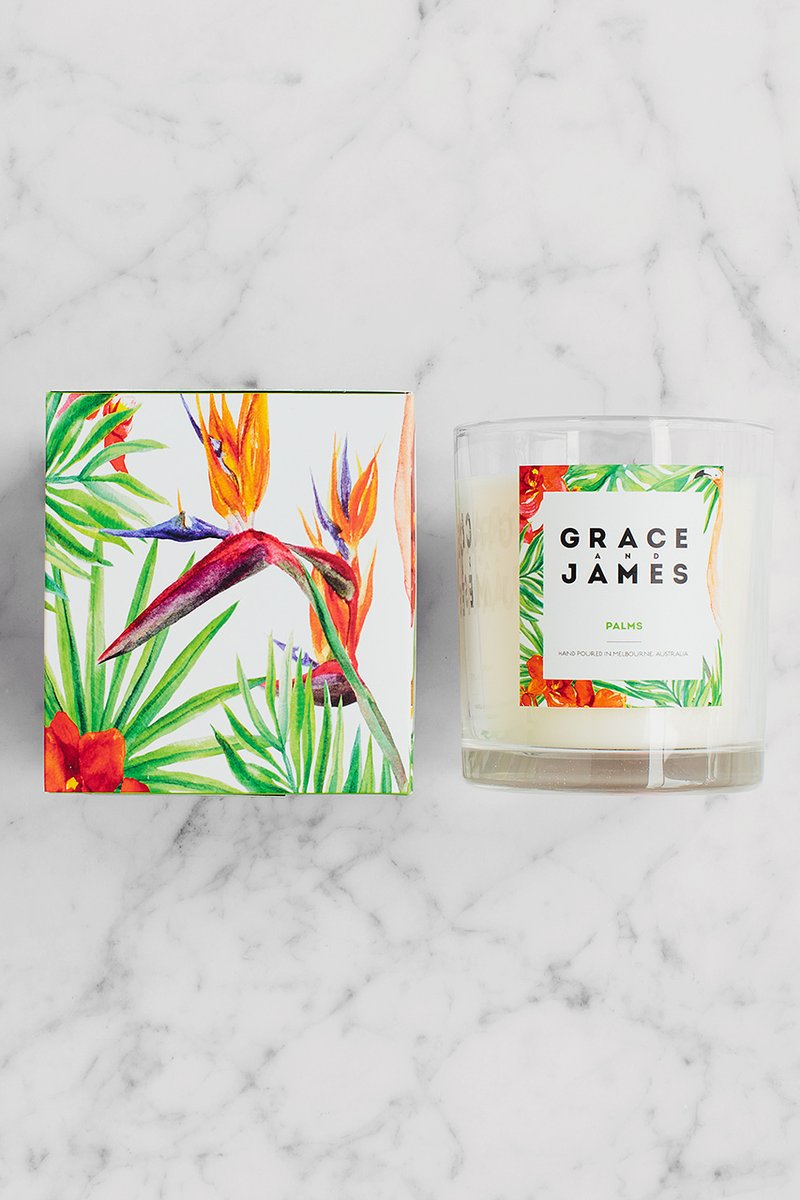 Grace and James Palm 80 Hour Candle