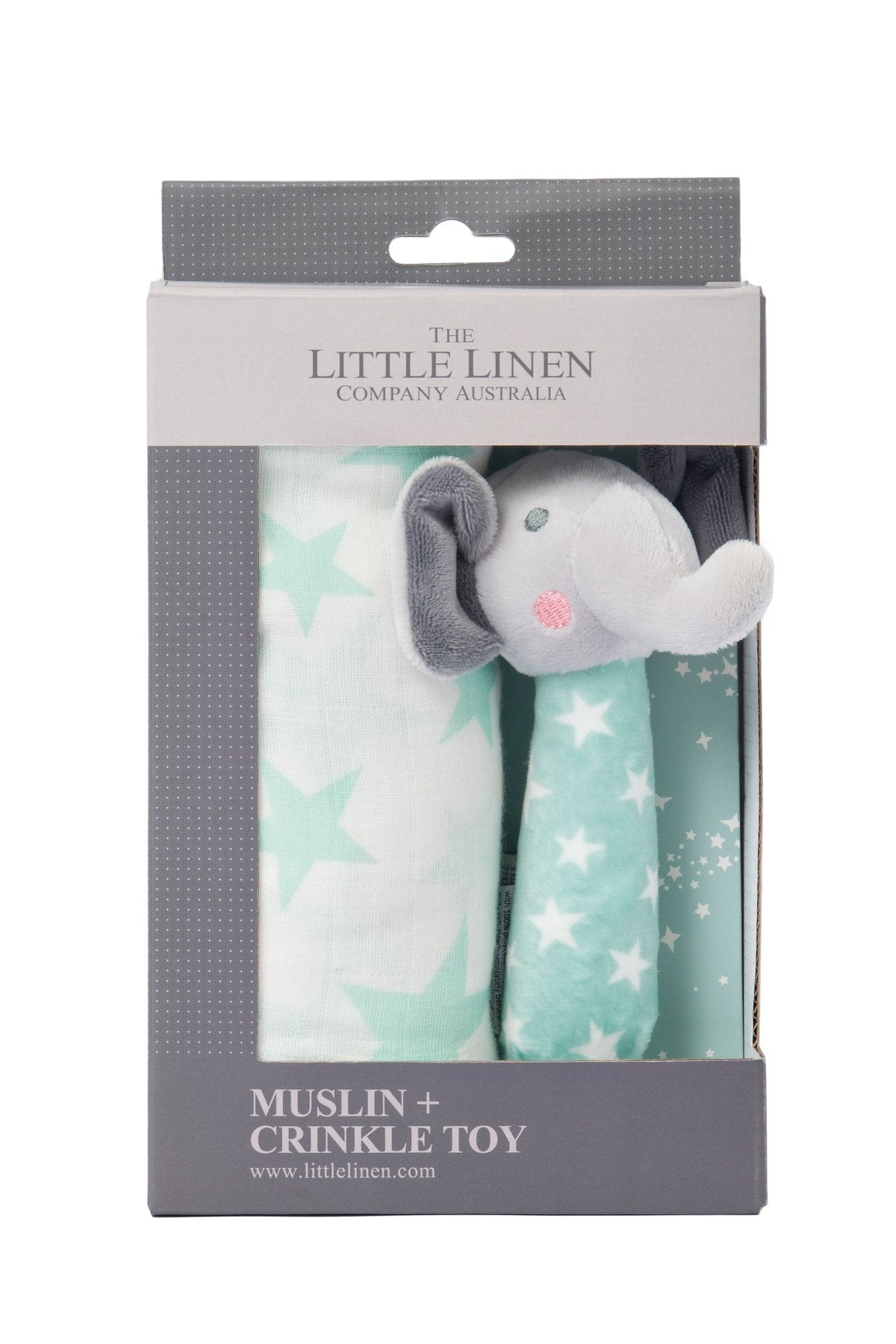Little Linen Muslin Wrap & Crinkle Toy - Seafoam Elephant
