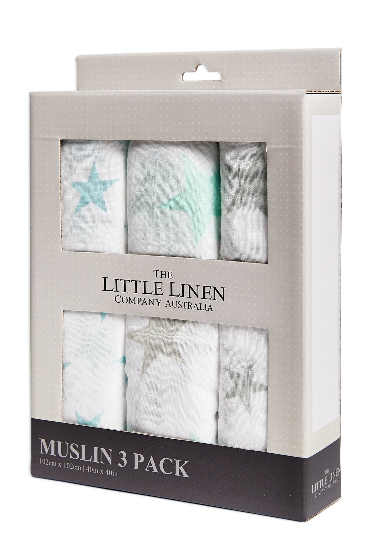 Little Linen Muslin 3Pk Prints - Teal Star