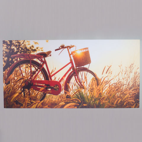 A printed infrared heating panel with an image of a bicycle.