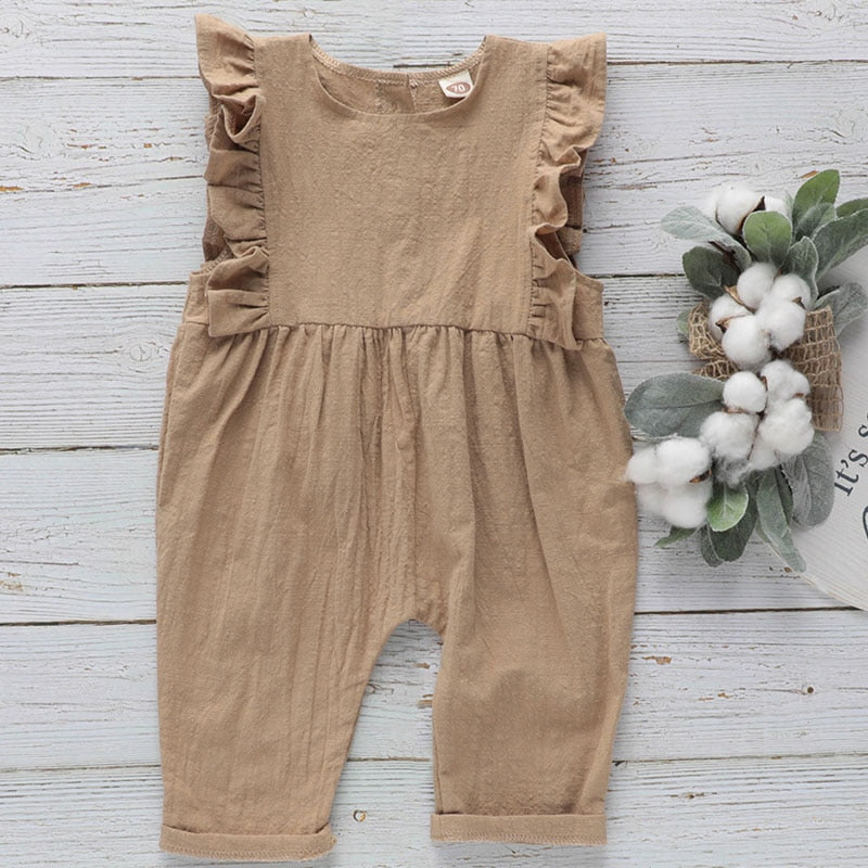 Ruffled Sleeveless Cotton Romper - jackandbo.com