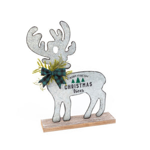 Metal & Wood Holiday Moose