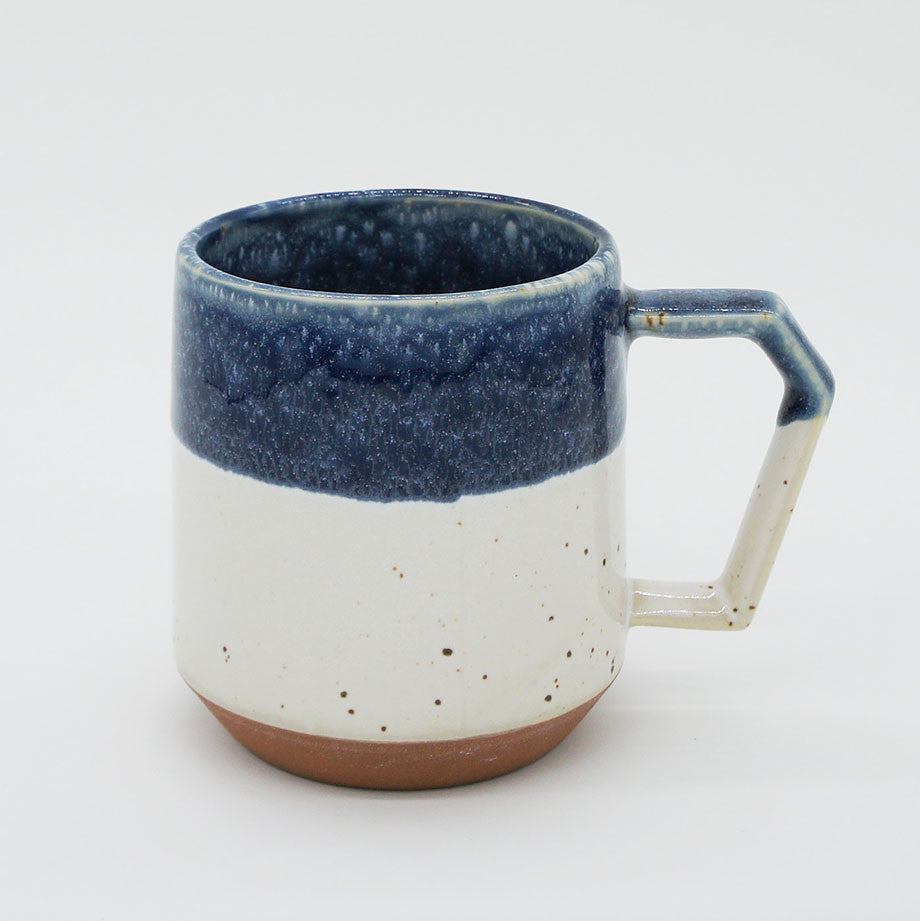 Japanese Mug - White-Navy Drop 12 oz.