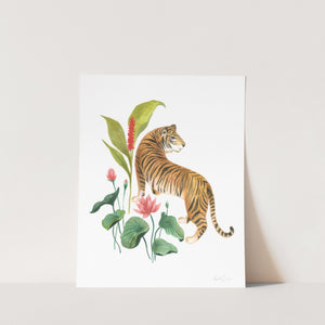 Tiger and Lotus Flowers Art Print