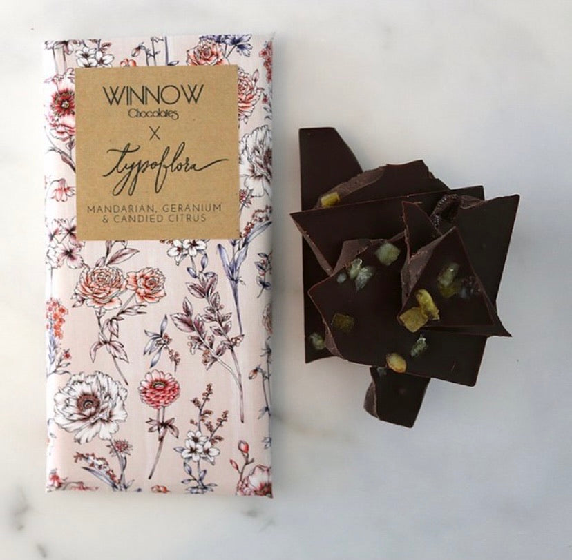 Mandarin, Geranium & Citrus Dark Chocolate - Winnow x Typoflora