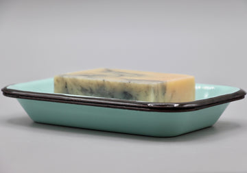 Teal Rustic Metal Soap Dish & Bar Duo