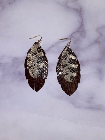 Feather Snake Earrings