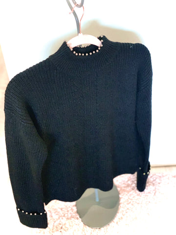 Sweater with Pearl Trim