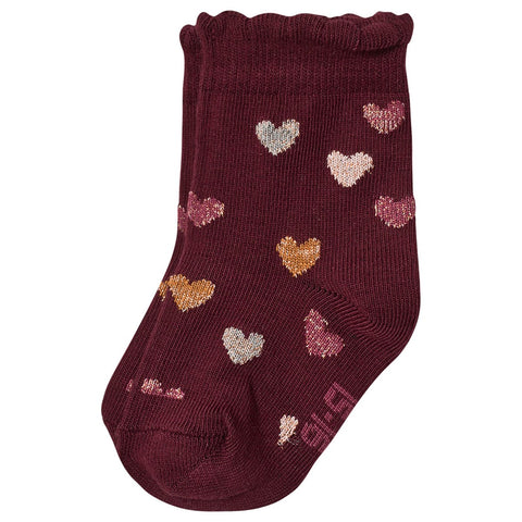 Melton Bordeaux Red Lurex Glitter Hearts Socks