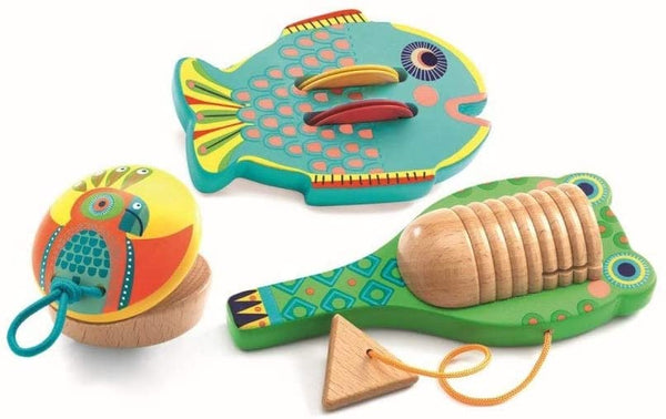 Djeco Set of 3 Instruments Cymbals, Castanet, and Guiro