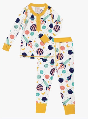 Munki Munki Spaceship Kids Long Johns PJ Set