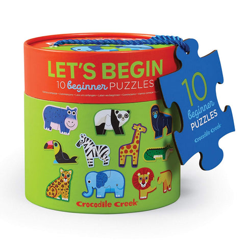 Crocodile Creek Let's Begin 2-Piece Puzzles - Jungle (10 Beginner Puzzles)