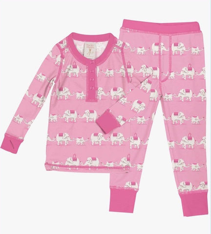 Munki Munki Pink Elephants Kids Long Johns PJ Set