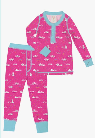 Bunny Love Kids Long Johns PJ Set