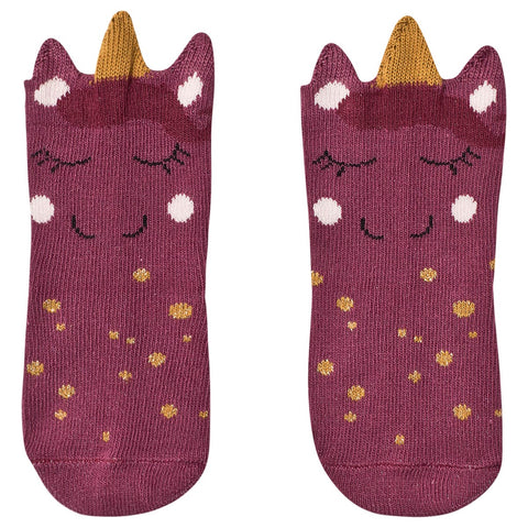 Melton Unicorn Baby Socks Dark Plum