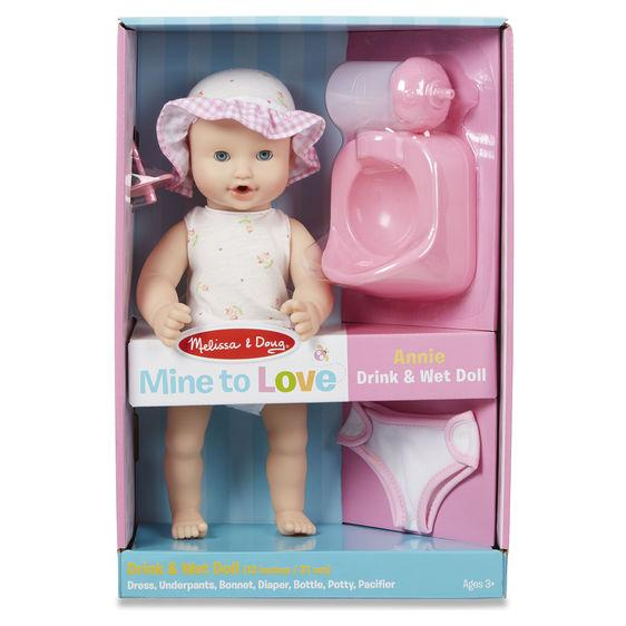 "Melissa & Doug Mine to Love Annie 12"" Drink & Wet Doll"