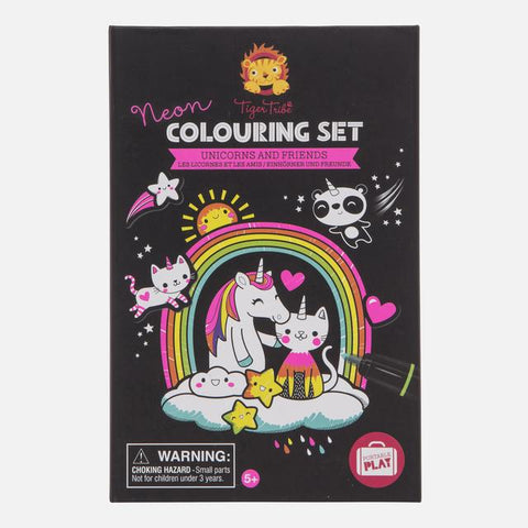 Tiger Tribe Neon Coloring Set - Unicorns and Friends