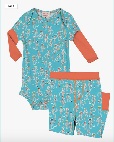 Munki Munki sock monkey romper & infant set - Blue