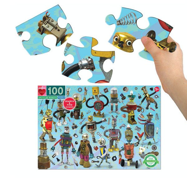 eeboo up cycled robots puzzle 100