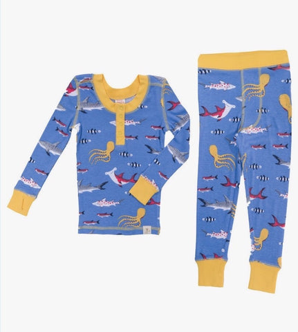 Munki Munki Sharks Kids Long Johns PJ Set