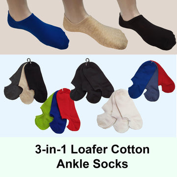 3-in-1 Loafer Ankle Cotton Socks - Kawata House of Socks