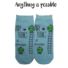"Load image into Gallery viewer, Motivational Quote Series "" Anything is possible "" Casual Ankle Socks"