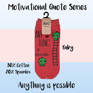 "Motivational Quote Series "" Anything is possible "" Casual Ankle Socks"