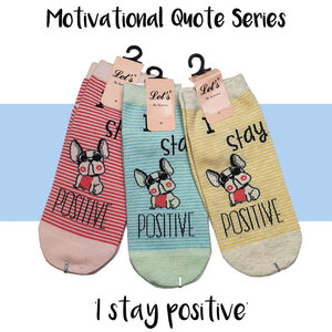 "Motivational Quote Series "" I stay positive "" Casual Ankle Socks"