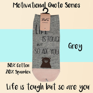 "Motivational Quote Series "" Life is tough but so are you "" Casual Ankle Socks"