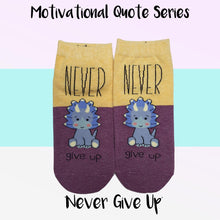 "Load image into Gallery viewer, Motivational Quote Series "" Never Give Up "" Casual Ankle Socks"