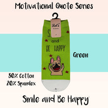 "Load image into Gallery viewer, Motivational Quote Series "" Smile and Be Happy "" Casual Ankle Socks"