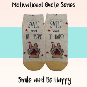 "Motivational Quote Series "" Smile and Be Happy "" Casual Ankle Socks"