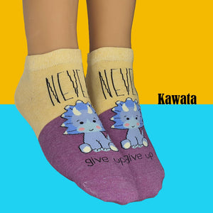 "Motivational Quote Series "" Never Give Up "" Casual Ankle Socks"