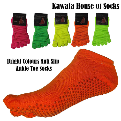 Bright Colours Anti Slip Ankle Toe Socks - Kawata House of Socks