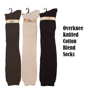 Knitted Overknee Cotton Blend Warm Socks