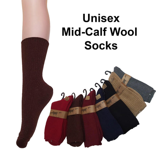 Mid Calf Wool Socks (Unisex) / Mid Calf Winter Socks - Kawata House of Socks