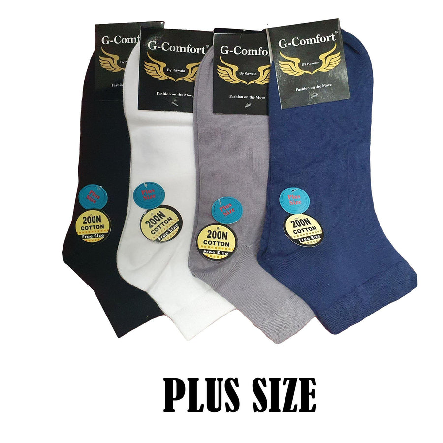 Plus Size Quarter Thin Cotton Socks - Kawata House of Socks