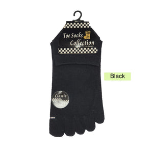 Ankle Five Toe Socks - Kawata House of Socks in Black Colour