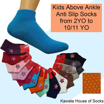 Kids Anti Slip Plain Quarter Socks - Kawata House of Socks