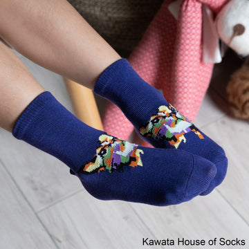 Anti-Slip Quarter Artistic Cat Socks - Kawata House of Socks