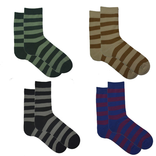 Mid-Calf Stripe Cotton Socks - Kawata House of Socks