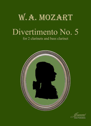 Mozart (Anderson): Five Divertimenti No. 5 (2 clarinets, BC) parts and score