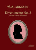 Mozart (Anderson): Divertimento No. 3 [oboe, clarinet, bassoon] (score and parts)