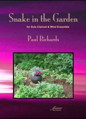 Richards: Snake in the Garden  for clarinet and wind ensemble (score and parts)