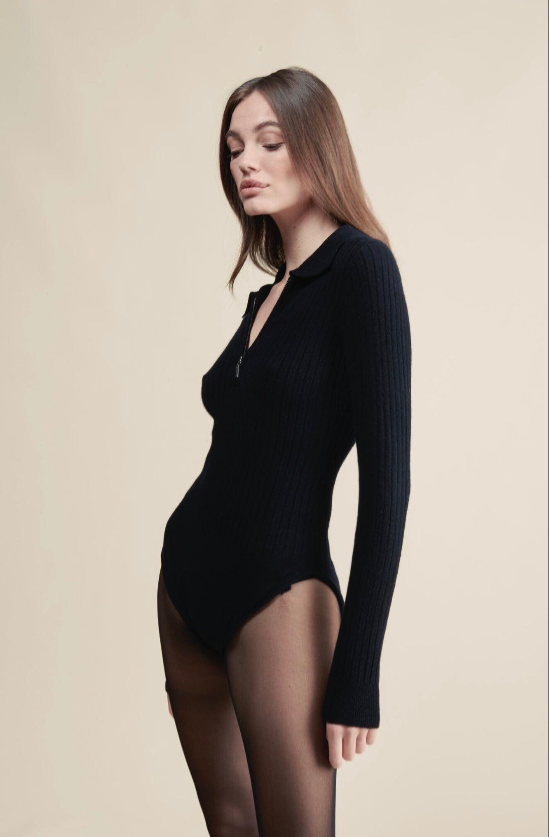 Ribbed Cashmere Collared Bodysuit Off White