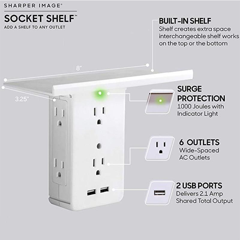 Socket Shelf - 8 AC Power Outlet & USB Storage Holder - Gadget Room