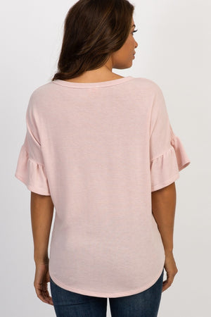 PinkBlush Short Ruffle Sleeve Maternity Top