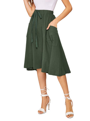Pocket Patched Cotton Flare Skirt