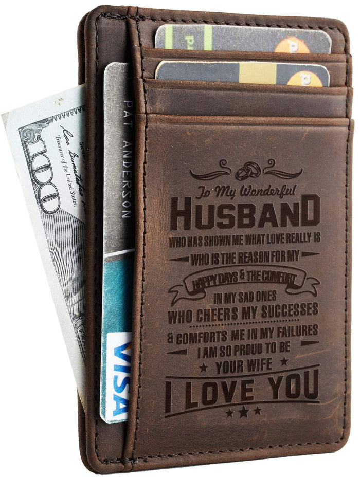 Leather Slim Wallet, With Beautiful Message To Husband